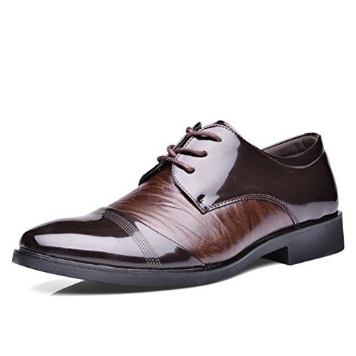 Sun Florence Men's Business Pointed Toe Patent Leather Shoes Formal Oxfords Brown - Outlet Designer Derby