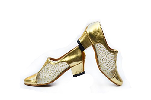 Abby B-2 Womens Cocktail Party Ballroom Tango Closed Toe Chacha Popular Dance Shoes Golden USCzWG3