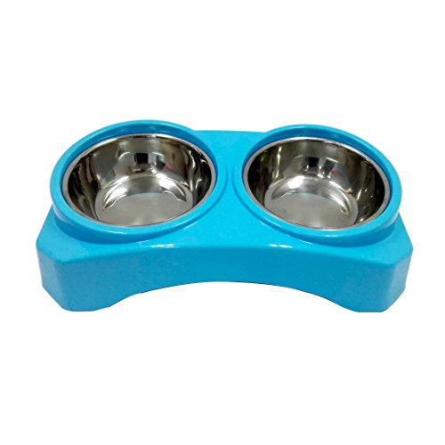 AZUZA Double Dog Bowls Pet Feeding Station, Stainless Steel Removable Tray for Dog Cat Small Animal, Food Water Container Dish Table Dinner Set with Elevated Stand (Small, Blue)