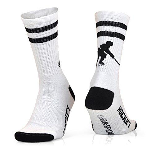ChalkTalkSPORTS Hockey Half Cushioned Crew Socks | Hockey Player | White/Black