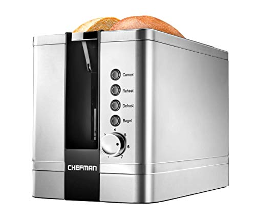 Chefman 2-Slice Pop-Up Stainless Steel Toaster w/ 7 Shade Settings Extra Wide Slots for Toasting Bagels, Defrost/Reheat/Cancel Functions, Removable Crumb Tray, 850W, 120V, Silver (Renewed)