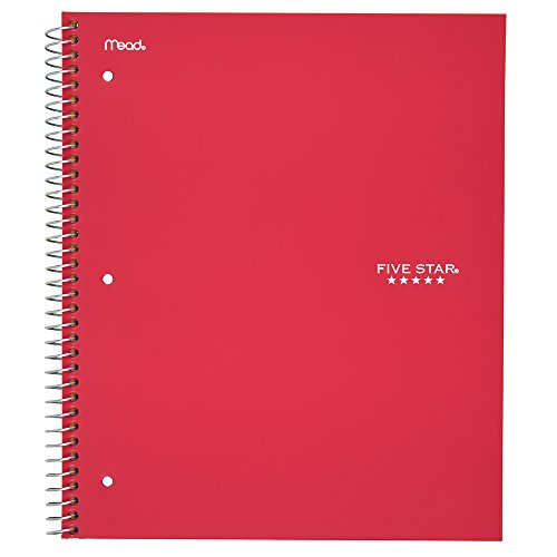 (Five Star Spiral Notebook, 1 Subject, College Ruled Paper, 100 Sheets, 11