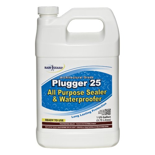 Rainguard Plugger 25 Clear Acrylic Flat Finish 1 Gal Multi Surface Concrete & Wood Water Sealer for Protecting Decks, Walkways, Pavers, Porches, Patio's, Fences with Minimal Change in Appearance for both Painted & Unpainted Surfaces