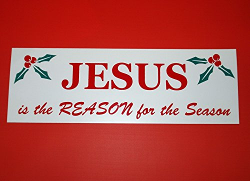 1 Pc Effective Unique Jesus The Reason for the Season Sign Silk Screen Yard Decal Window Declare Banner Decor Ornament Wall Hanging Ornaments Vintage Door Village Party Size 4