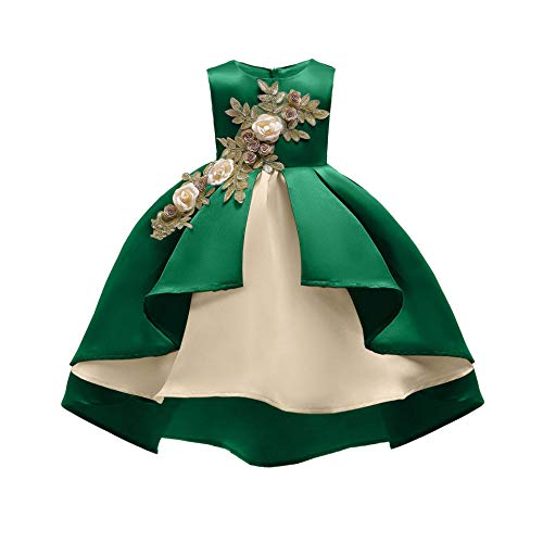 AIMJCHLD Teenages Girls Ball Gowns Flower Girl Dress Kids Children Country Party Formal Special Performance Dress Baptism Graduation Bowknot Party Dresses Size 8 9 Years (Green 150) -