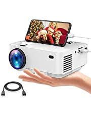 2019 Upgraded Mini Projector, DBPOWER 2400Lux Portable Video Projector for Home Theater, Support Screen Mirror with Smartphone & Pad, 1080P/HDMI/VGA/USB/TV Box/Laptop/DVD/External Speaker Supported