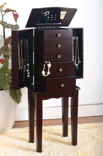 Espresso Jewelry Armoire Chest eHomeProducts