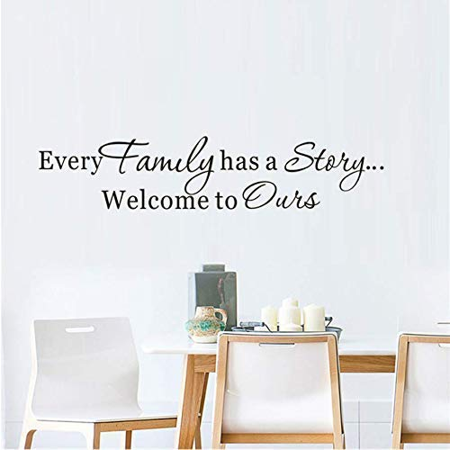 Cada familia tiene una historia Cita Pegatinas de pared Vinilo Adhesivo Letras Calcomanias para sala de estar Comedor Decoracion Murales Art38 * 8Cm