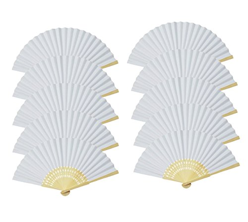 Folding Fan White Blank Paper Handheld Folded Fan Bridal Dancing Props Church Wedding Gift Party Favors Home Office DIY Decor(10pcs)