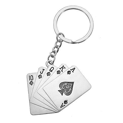 Viviance DellUomo Natale Auto Regalo Creativo Poker Portachiavi In Metallo Anello