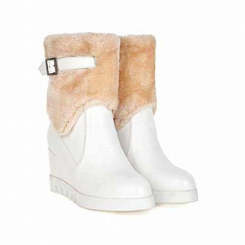 Carolbar Delle Donne Faux Fur Zipper Eleganza Chic Grazia Caldo Fibbia Tacco A Zeppa Stivali Da Neve Bianco