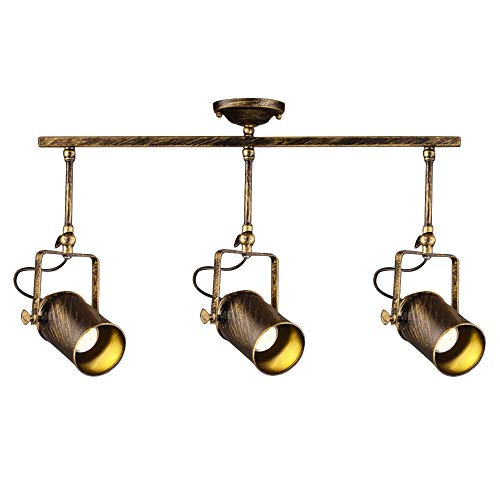 Vintage Dark Bronze Spotlight, Motent Industrial Retro Adjustable Metal Ceiling Lamp, Antique Flush Mounted Iron Wrought Minimalist Painted Track Lighting Fixture Set for Parlor Bar Cabinet - 3-Light