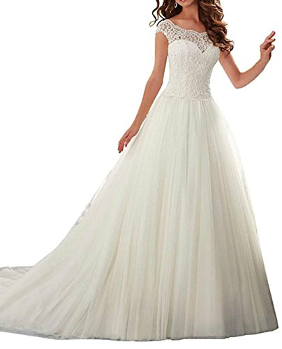 VEPYCLY Elegant Cap Sleeve Lace Tulle Ball Gown Wedding Dresses for Bride White 17 Plus