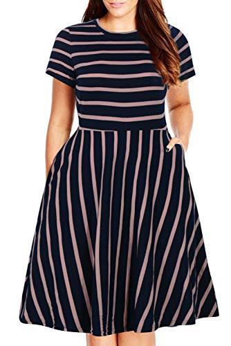 - Nemidor Women's Round Neck Summer Casual Plus Size Fit and Flare Midi Dress with Pocket (Navy Stripe, 16W)