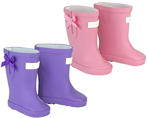 (Sophia's Rain Boots for Dolls, fits 18 and 15 inch Doll | 1 Pair Light Pink, 1 Pair Purple)