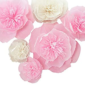Silk Flower Arrangements Letjolt Pink Paper Flower Decorations for Wall 1st Birthday Backdrop Spring Party Wedding Easter Day Baby Shower Bridal Shower Nursery Wall Decor(Pink White Set 6)