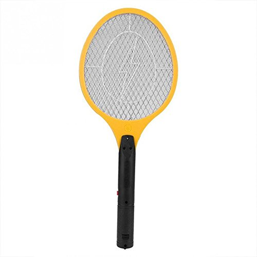 EECOO Battery Powered Electric Fly Swatter (Voltage: 2200V) Mosquito Bug Zapper Racket Insects Killer (Yellow) by EECOO