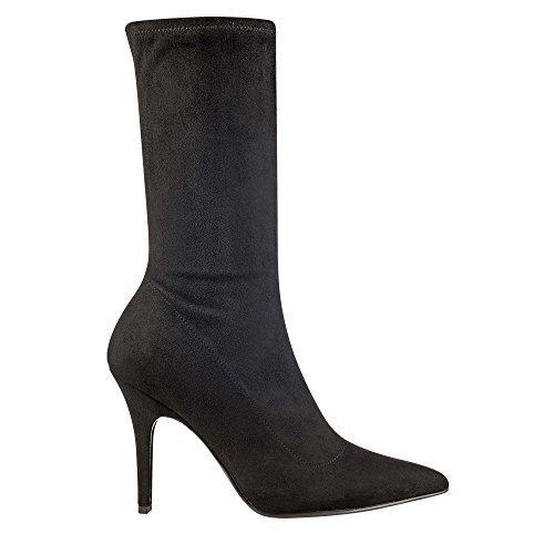 Marc Fisher Womens Unita Pointed Toe Mid-Calf Fashion Boots Black/Fabric pb2Qf