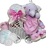 Babies First Carriage Gift Basket in Baby Girl Pink