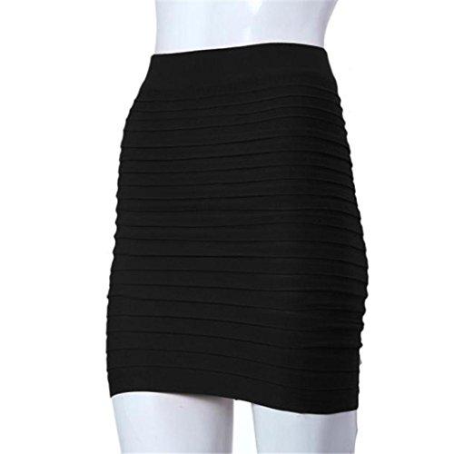 Taille Mode Haute Rayures Sexy Femme Paquet Noir lastique Crayon Jupe Hanche Courte LuckyGirls Jupe nqZTd8nw