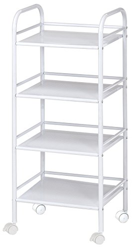 Blue Hills Studio SH4WH Storage Cart 4-Shelf White by Blue Hills Studio