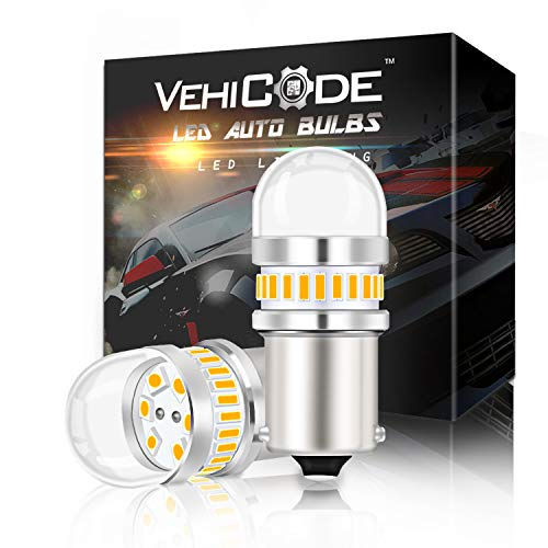 VehiCode Bright 950Lms 1156 LED Light Bulb (3000K Amber Yellow) Kit - 7506 1141 93 P21W BA15S Single Contact Replacement for Car Harley Turn Signal Light Blinker RV Camper Porch Light Lamp (2 Pack)