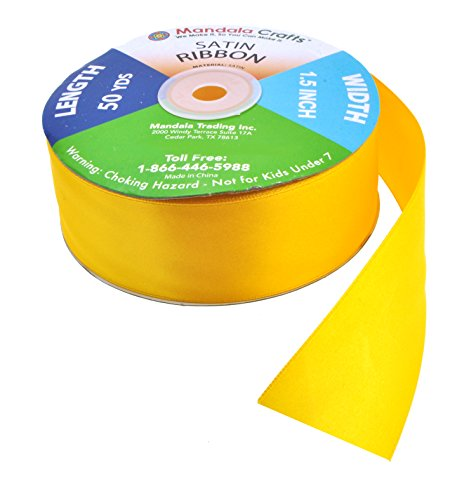Mandala Crafts Fabric Satin Ribbon for Hair Bow Making, Sewing, Gift Wrapping, Flower Bouquets, Party Decorating, and Weddings (1 1/2 Inch 50 Yards, Yellow)