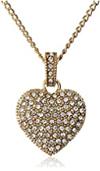 """Judith Jack """"Golden Class"""" Sterling Silver and Gold-Tone Crystal Marcasite Heart Pendant Necklace"""