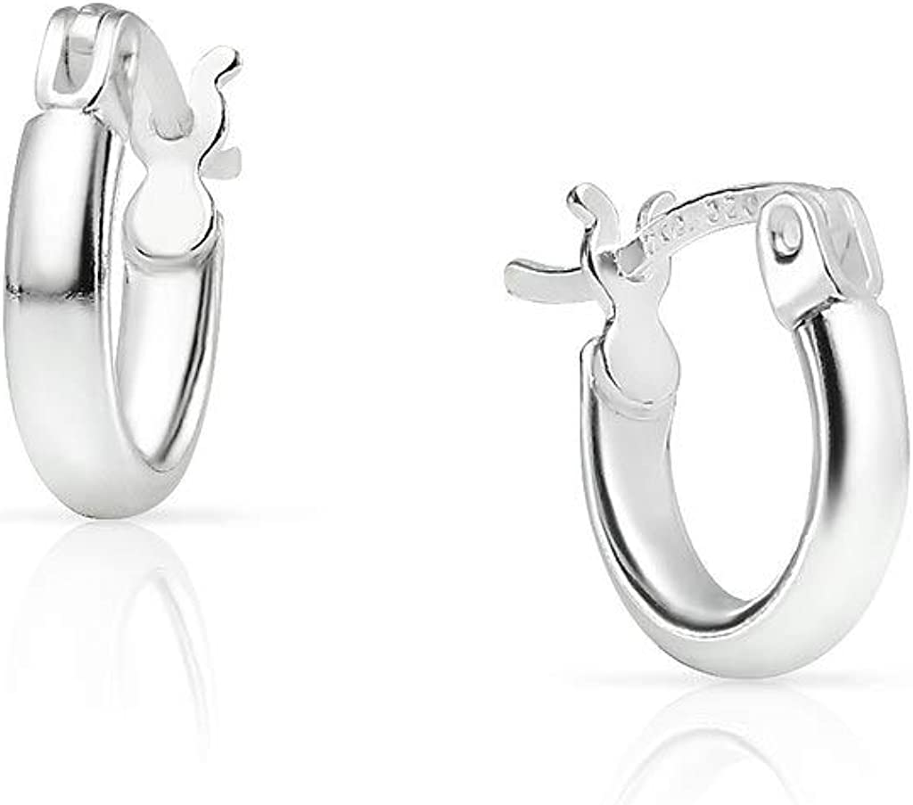 SOLIDSILVER- Sterling Silver 10mm 12mm 15mm Lightweight High Polished Click Top Hoop Earrings in Sterling Silver & Yellow Gold Dipped