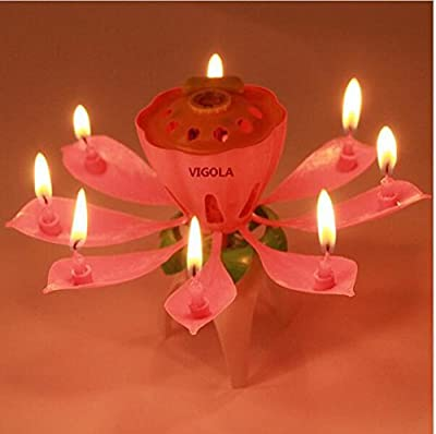 Cheapest VIGOLA Beautiful Musical Lotus Flower Happy Birthday Party Gift Lights Decoration Lamp (Pink) by UHBDNK - Free Shipping Available