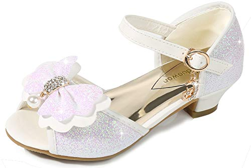 Lilybell Wedding Sandals for Girls Low Heel Sequin Princess Cute Christmas Toddler Light White Heeled Sandals for Girls Size 13 for Wedding Princess (White 32)