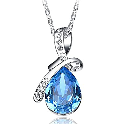 "NEEMODA ""Eternal Love"" Luxury Austrian Crystal Pendant Necklace Eco-friendly Triple White Gold Plated Upgraded Chain"