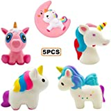 Yonishy 5Pcs Jumbo Squishies Toy Pink Unicorn,Pink Moon Horse,Star Horse,Rainbow Horse Kawaii Cream Scented Slow Rising Squeeze Soft Toy for Stress Relief Gift Decorative Props Large