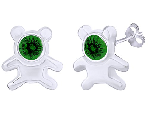 Ring Teddy 14k Bear (Mothers Gift Simulated Emerald Cute Teddy Bear Stud Earrings 14K White Gold Over Sterling Silver)