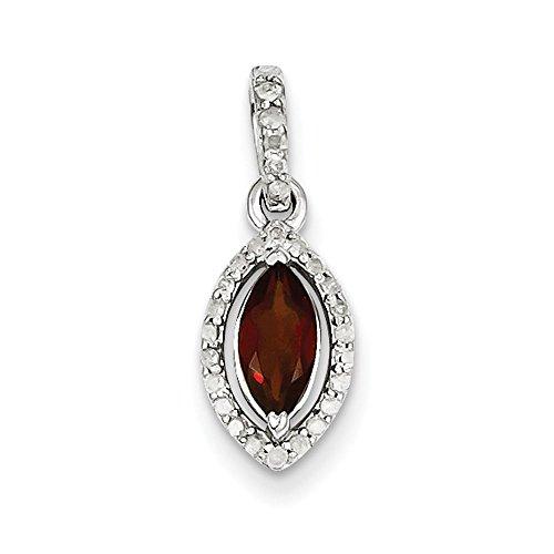 Argent Sterling diamant pendentif-JewelryWeb et grenat