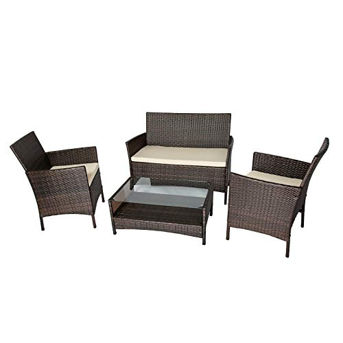Uenjoy High-Density PE 4 PC Outdoor Patio Furniture Conversation Sets Cushioned Rattan Wicker Sectional Sofa & Table for Pool, Lawn and Garden, Brown