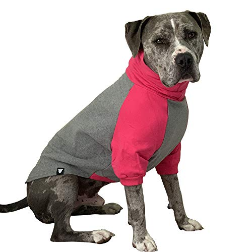 Tooth & Honey Large Dog Sweater/Pitbull/Large Dog Sweater Dog Sweatshirt/Hot Pink & Grey