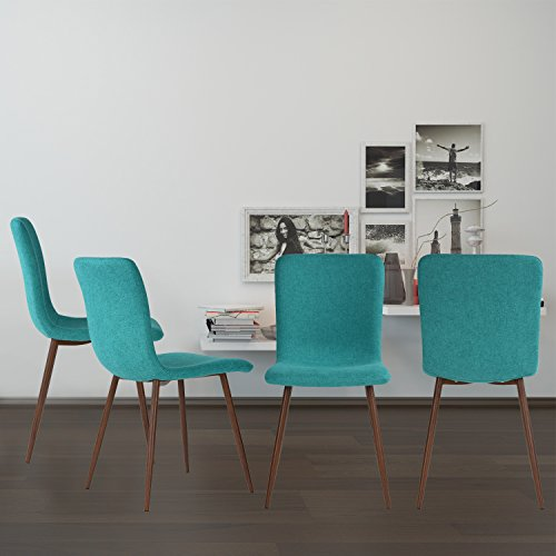 Set of 4 Dining Chairs Coavas Fabric Cushion Kitchen Chairs with Sturdy Metal Legs for Dining Room, Green by Coavas (Image #4)