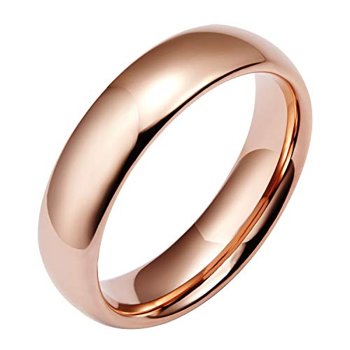 Shuremaster 6mm Tungsten Wedding Bands for Men Women Rose Gold Plated Dome Plain High Polish Comfort Fit Size 7 -