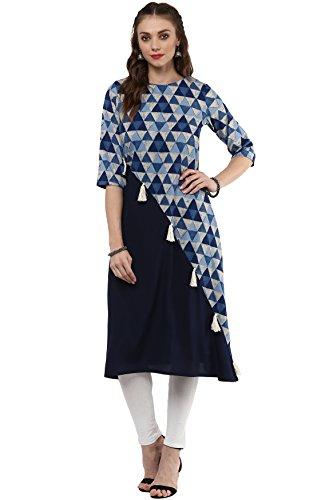 Janasya Indian Tunic Tops Crepe Kurti for Women (JNE2058-KR-339-S) Blue