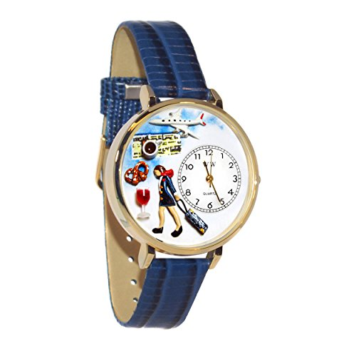 Whimsical Watches Women's G-0610007 Flight Attendant Blue Leather Watch by Whimsical Watches