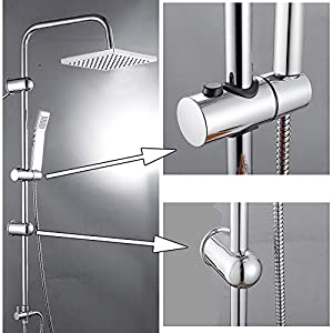 Modern Chrome Riser Rail Mixer Shower Square Head Kit for Bathroom, Stainless Steel Hose, with Fittings