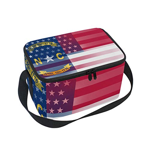 - USA North Carolina State Flag Insulated Lunch Bag/Box/Organizer/Holder/Container Lunch Ice Pack with Shoulder Strap for Work,School and Picnic