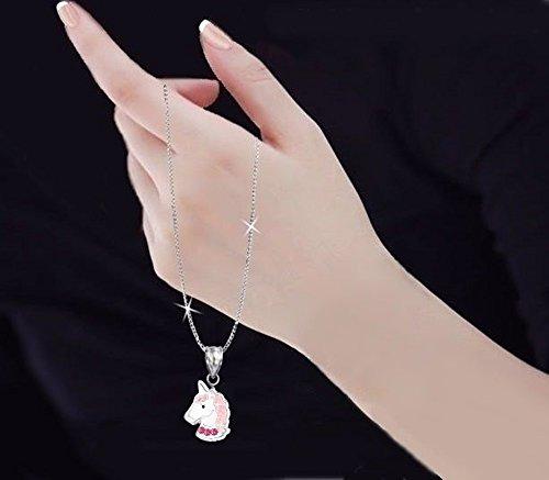 gh1a Rosa Cristal Unicornio Juego Ring + Colgante + Collar + Pendientes Plata 925