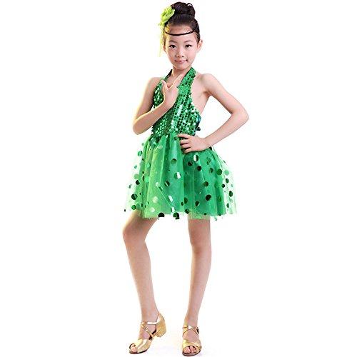 FTSUCQ Girls Sleeveless Paillette Princess Dancing Dress,Green 140