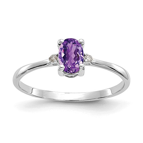 10k White Gold Diamond Purple Amethyst Birthstone Band Ring Size 6.00 Stone February Oval Fine Jewelry Gifts For Women For Her
