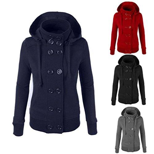 OverDose Las mujeres del invierno caliente de doble botonadura con capucha larga delgada Outwear la capa de la chaqueta Rojo