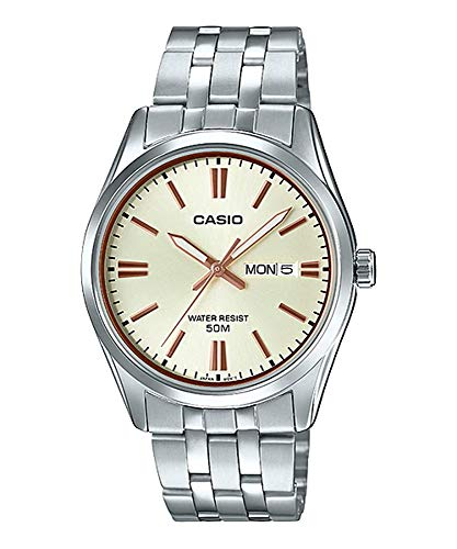 Date Champagne Dial - Casio MTP1335D-9AV Men's Stainless Steel Champagne Dial Analog Day Date Dress Watch