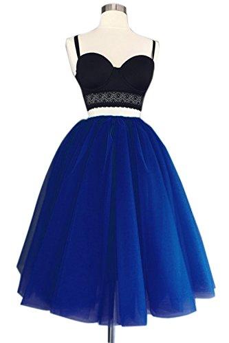 secretcastle Red de Cute rodilla longitud del mujer faldas falda de tul para fiesta 2016u595 azul real