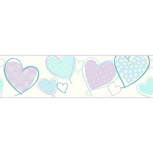 York WallcoveringsBGrowing Up Kids Heart Removable Wallpaper Border, White, Blue, Turquoise, Purple, Pearl